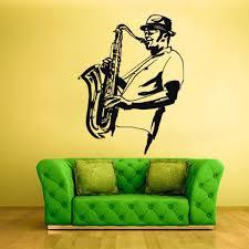 Wall Decal Vinyl Sticker Decals Music Saxophone Sax Jazz Musicans Hat Z1439 Ebay