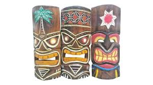wooden handcarved 12 tall tiki masks