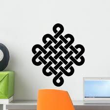 Amazon Com Wallmonkeys Tibetan Endless Knot Black White Diagonal Wall Decal 18 H X 18 W Small Home Kitchen