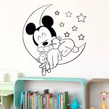 Disney Vinyl Wall Sticker Cute Sleeping Mickey Mouse On Moon With Stars Decal For Kids Baby Room Bedroom Accessories Home Decor Wall Stickers Aliexpress