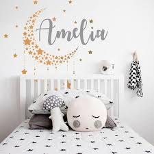 Moon And Stars Name Wall Decal Nursery Wall Decal Baby Girl Etsy In 2020 Girls Room Decals Nursery Wall Decals Baby Girl Room