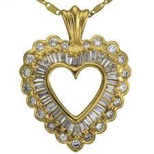 heart pendant baguette diamonds 14k