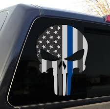 Punisher Skull Police Thin Blue Line American Flag Decal Sticker Graphic Ebay