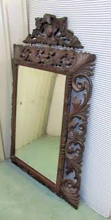 large french gothic carved oak mirror