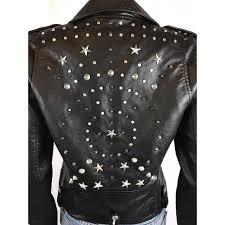 vegan leather moto star studded jacket