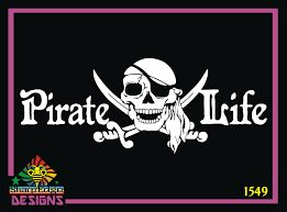 Pirate Life With Skull And Cross Swords Design Vinyl Decal