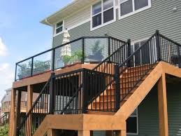 black metal deck rails with glass panel
