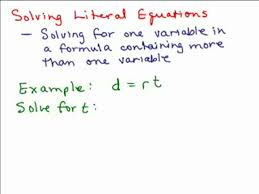 solving literal equations part 1 help