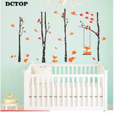 Cute Fox Swinging Trees Wall Stickers Birch Birds Wall Art Decal Kid Room Decor Ebay