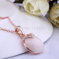 rose gold plated opal flat ball pendant
