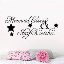 Amazon Com Wall Words Sayings Removable Lettering Mermaid Wall Decal Mermaid Stickers Decals Mermaid Kisses Starfish Wishes Wall Poster Home Decoration Bathroom Design Mermain Quote Decal Home Kitchen
