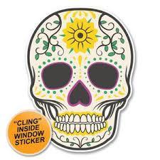 2 X Sugar Skull Window Cling Sticker Car Van Campervan Glass 6227 Destination Vinyl Ltd