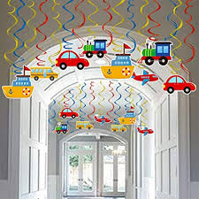 Amazon Com Transportation Party Hanging Swirl Decorations 30 Ct Car Bus Train Plane Ship Diy Hanging Decor For Kids Baby Shower Birthday Party Supplies Toys Games