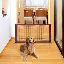 Safstar Adjustable Freestanding Wooden Pet Dog Gate Solid Fence Playpen For Indoor Home And Office Use Https Dogcrateusa Re Wooden Pet Gate Dog Gate Pet Gate