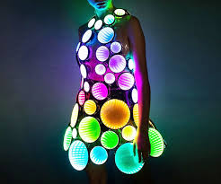 infinity mirror led party dress