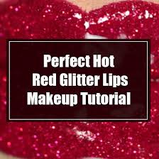 red glitter lips makeup tutorial