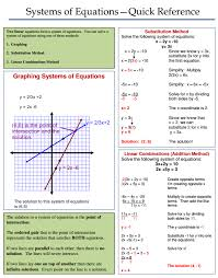 systems of equations review sheet