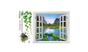 3d Window View Removable Pvc Wall Sticker Landscape Decal Decor Mural Groupon