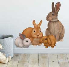 Create A Mural Bunny Rabbit Family Wall Decals Forest Kids Wall Decals Baby Nursery Toddler Room Wall Decor Boys Girls Wall Stickers Bedroom Decoration Diy Decor