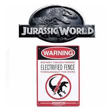 Toy Jurassic World Raptor Fence Metal Sign Geek Suisse Shop