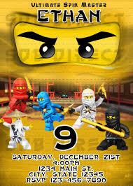 Lego Ninjago Party Invitations Gold Ninjago Invitation Ninjago