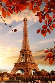 eiffel tower red leaves twigs autumn