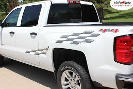 Champ 2014 2019 Chevy Silverado Or Gmc Sierra Checkered Flag Bed Side Vinyl Graphic Decal Stripe Kit Moproauto Professional Vinyl Graphics And Striping