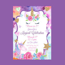 Unicorn Party Invitation Magical Unicorn Celebration Invite