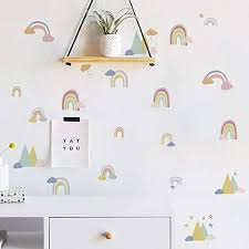 Amazon Com Runtoo Rainbow Wall Decal Colorful Love Wall Art Stickers For Kids Bedroom Living Room Baby Nursery Wall Decor Home Kitchen