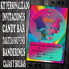 Kit Imprimible Trolls Cumpleanos Bautismo Candy Bar