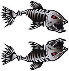 Amazon Com Winomo 2pcs 10x5 Inch Fish Skeleton Decals Sticker Vinyl Auto Decal Sticker For Kayak Fishing Car Automotive