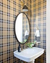 burberry plaid wallpaper in powder room