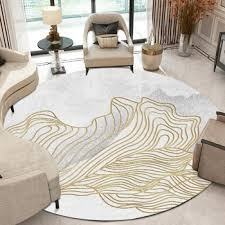Korean Round Rug Abstract Golden Stripes Living Room Sofa White Carpet Kids Bedroom Game Curtain Decoration Non Slip Floor Mat Leather Bag