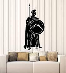 Amazon Com Vinyl Wall Decal Sparta Spear Shield Spartan Soldier Warrior Stickers Mural Large Decor G1377 Black Home Kitchen