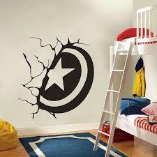 Captain America Shield Broken Wall Vinyl Decal Home Decor Living Room Mural Wallpaper Removable Wall Stickers Wall Sticker Removable Wall Stickerswall Vinyl Aliexpress