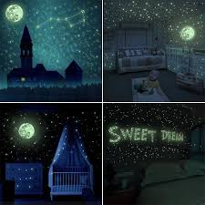 Wall Stickers Baby Products 1101 Pcs Glow In The Dark Stickers Diy Adhesive Wall Decals For Kids Bedroom Living Room Decoration Goldge Glow In The Dark Stars Dots Moon Meteor Wall Stickers