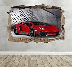 Green Lambo Huracan Childrens Wall Stickers Colour Pop Panel Posters Decal Nursery Boys Girls Wall Art Transfer Decal 3 Sizes Wall Stickers