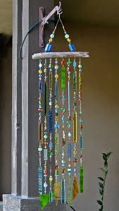 glass wind chimes with stained glass