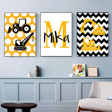 2020 Bulldozer Excavator Canvas Art Poster Boys Custom Name Painting Nursery Wall Art Print Nordic Wall Pictures Kids Bedroom Decor From Haloqueen 3 77 Dhgate Com
