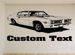 1969 Gto The Judge Car Wall Decal Auto Wall Mural Vinyl Stickers Boys Room Decor Man Cave Wall Decals Wall Decals Wall Decal Sticker