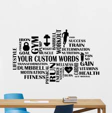 Amazon Com Gym Wall Decal Custom Fitness Words Cloud Personalized Motivational Fitness Vinyl Sticker Inspirational Wall Decor Fitness Motivation Quote Sport Wall Art Training Workout Wall Mural 84fit Kitchen Dining
