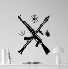 Bazooka Kalashnikov Assault Rifle Grenade Wall Vinyl Decal Army Weapon Vinyl Sticker Military Nursery Wall Decor Cool Wall Art Kids Teen Girl Boy Room Wall Design Bedroom Wall Mural Wish