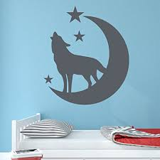 Wolf With Moon And Stars Wall Decal Wall Sticker Vinyl Wall Art Home Decor Wall Mural Sa3073 16in X 18in Turquoise Walmart Com Walmart Com