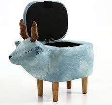 Amazon Com Lovehome Animal Storage Ottoman Elk Creative Footrest Cartoon Step Stool Toy Chest For Kids Kids Room Nursery Blue 633356cm 251322inch Home Kitchen