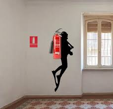 Scuba Diver Wall Sticker Fire Extinguisher Deep Dive Silhouette Vinyl Gift Decal Down Diving Happy Diver Art Creative For Office Mural Decords Tm