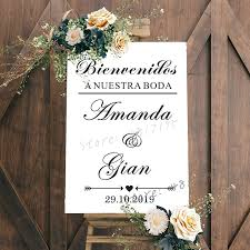 Spanish Wedding Vinyl Wall Sticker Custom Welcome Sign Vinyl Board Decals Wedding Creative Decor Custom Names Vinyl Murals Az759 Wall Stickers Aliexpress