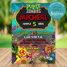 Invitacion De Cumpleanos De Plants Vs Zombies Para Imprimir