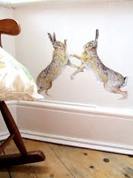 hare wall stickers boxing hares