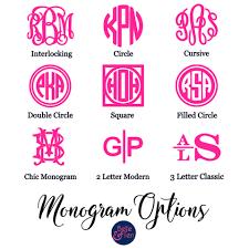 Neon Pink Monogram Decal Belle Ten