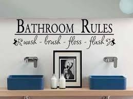 Bathroom Wall Decal Bathroom Rules Wash Brush Floss Flush Bath Etsy